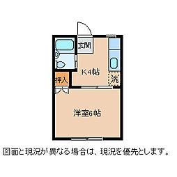 東雲7 2階1Kの間取り