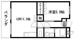 アシューレ東岸和田[202号室]の間取り