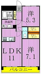 東京都足立区皿沼2丁目の賃貸マンションの間取り