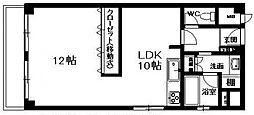 ユニハイム夕陽丘[11階]の間取り