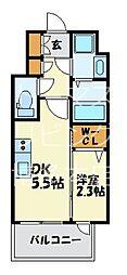 福岡市地下鉄七隈線 渡辺通駅 徒歩4分の賃貸マンション 8階1DKの間取り