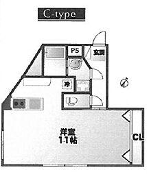 88.羽沢 3階ワンルームの間取り