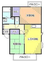東京都小平市上水本町6丁目の賃貸アパートの間取り