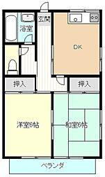 コーポ関戸2階Fの間取り画像