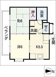 中砂ハイツ[2階]の間取り