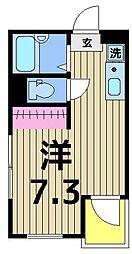 東京都足立区柳原1丁目の賃貸アパートの間取り