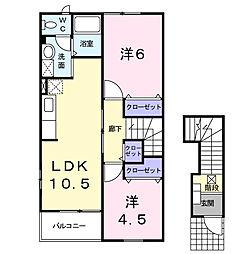 アースブラウンK・TIII[2階]の間取り