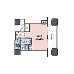 東京メトロ丸ノ内線 新宿御苑前駅 徒歩4分の賃貸マンション 12階ワンルームの間取り