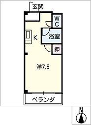 エストゥディオM B棟 3階ワンルームの間取り