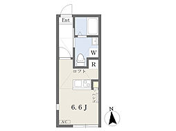 JR南武線 久地駅 徒歩8分の賃貸アパート 2階1Kの間取り