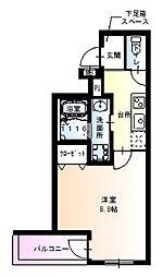 阪急神戸本線 園田駅 徒歩8分の賃貸アパート 1階1Kの間取り