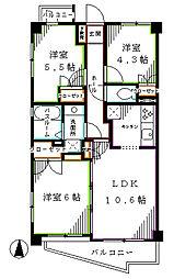 中野坂上パインマンション 3階3LDKの間取り