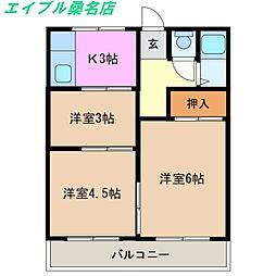 三重県桑名市新矢田1丁目の賃貸アパートの間取り