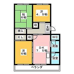 パークハイツ左京山[4階]の間取り