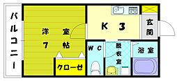 福岡県福岡市東区美和台3丁目の賃貸アパートの間取り