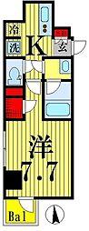 都営新宿線 菊川駅 徒歩9分の賃貸マンション 8階1Kの間取り