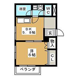 LA KIKUI[3階]の間取り