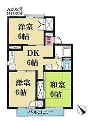 グリーンキャッスルA/B[2階]の間取り