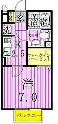千葉県流山市東初石2丁目の賃貸アパートの間取り