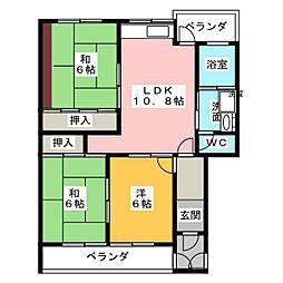 サンシャイン芝野[3階]の間取り