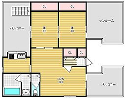 大阪府高槻市野田3丁目の賃貸マンションの間取り