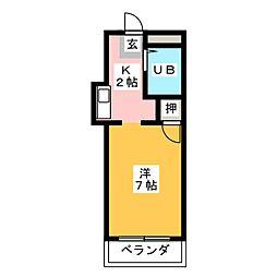 キャッスル片岡[3階]の間取り