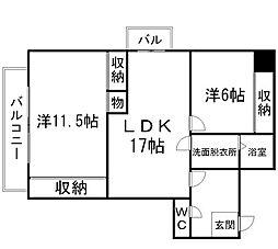 メモリープラザ大博[4階]の間取り