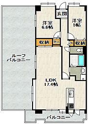 ラヴェニール宝塚中山台ドゥジェーム[15F号室]の間取り