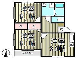 クレールメゾン・サカエ[2階]の間取り