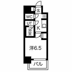 名古屋市営東山線 今池駅 徒歩6分の賃貸マンション 6階1Kの間取り