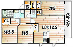 アミコート エミ[1階]の間取り