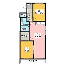 キャッスル東栄 A棟[3階]の間取り