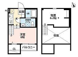 JR鹿児島本線 香椎駅 徒歩12分の賃貸アパート 1階1Kの間取り