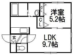 KI.Hassamu4−4[3階]の間取り