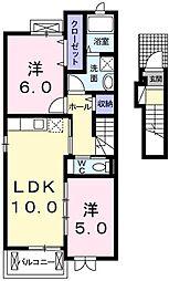 東京都青梅市今井2丁目の賃貸アパートの間取り