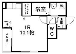 エルハーベン子平町 1階ワンルームの間取り