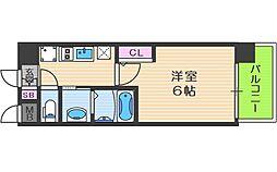 エステムコート中之島GATEII 8階1Kの間取り