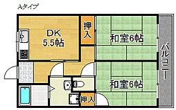 羽倉崎シティハイツ[2階]の間取り