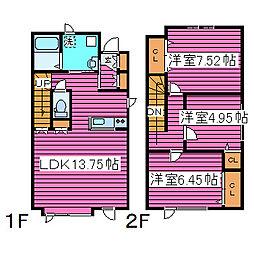 [タウンハウス] 北海道札幌市東区東雁来十条4丁目 の賃貸【/】の間取り