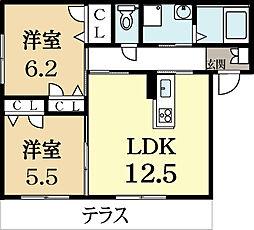 京都府城陽市枇杷庄島ノ宮の賃貸アパートの間取り
