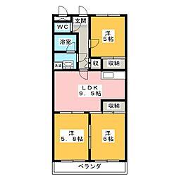 ヴィクトワール弐番館[1階]の間取り
