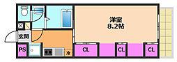 リブリ・ラゴーラ 1階1Kの間取り
