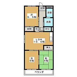 本宮ハイツ山田[2階]の間取り