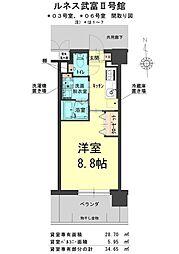 ルネス武富II 5階1Kの間取り