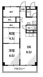 神奈川県横浜市鶴見区下末吉5丁目の賃貸マンションの間取り