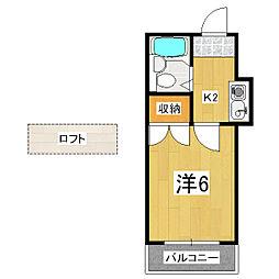 京都府京都市山科区大宅桟敷の賃貸アパートの間取り