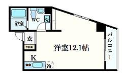 レシア六甲 7階1Kの間取り