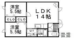 夢ハイツ 2階2LDKの間取り