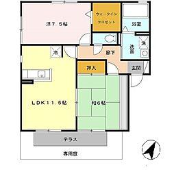 ビューハイツ西蒲田[1階]の間取り