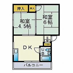 レジデンス江木[201号室]の間取り